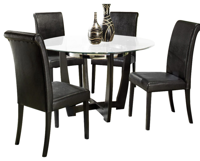 homelegance sierra 48 inch round dining table with glass top traditional dining tables by. Black Bedroom Furniture Sets. Home Design Ideas