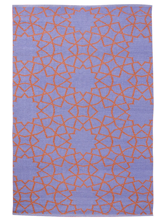 KOKO - Fez Area Rug, Periwinkle/Rust - With its chic colors and sophisticated pattern, you'd never suspect this area rug washes clean with a garden hose! Hand-loomed from a blend of vinyl and polyester, this reversible floor covering is perfect for the patio, porch or family room — anywhere you need a touch of luxury without the upkeep.