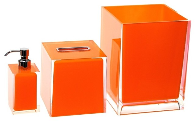 3 piece orange accessory set contemporary bathroom