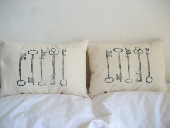Skeleton Key Pillows by Sugar and Fig modern bed pillows