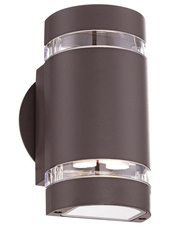 "Possini Euro Design - Wynnsboro 7 1/2"" High Bronze LED Outdoor Up and Downlight - With plenty of illumination this outdoor wall light makes a great addition to a home's exterior. Finished in bronze and made of aluminum with tempered clear glass this light shines from both the top and bottom so you can ensure your home is well lit at night. Plus the energy efficient LED offers cost effective savings. Bronze finish. Tempered clear glass. Aluminum construction. Can be installed as an up or down light. Includes six 1 watt LEDs. 3000K color temperature. Light output it 420 lumens. Comparable to a 40 watt incandescent bulb. 7 3/4"" high. 4"" wide. Extends 4"" from the wall.  Bronze finish.  Tempered clear glass.  Aluminum construction.  Light shines from both the top and bottom.  Includes six 1 watt LEDs.  Not dimmable.  3000K color temperature.  Light output it 420 lumens.  Comparable to a 40 watt incandescent bulb.  7 3/4"" high.  4"" wide.  Extends 4"" from the wall."