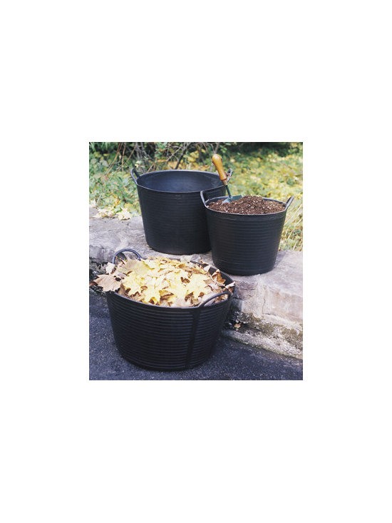 Original Black Trug Tubs - They're black and tough, but light and easy to carry. Made from 100% recycled polyethylene, they're as hardwearing as a car tire. Unaffected by freezing cold or boiling water.