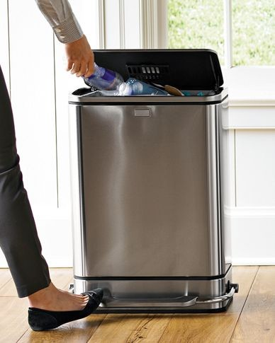 Simplehuman steel bar step trash can modern trash for Kitchen garbage cans