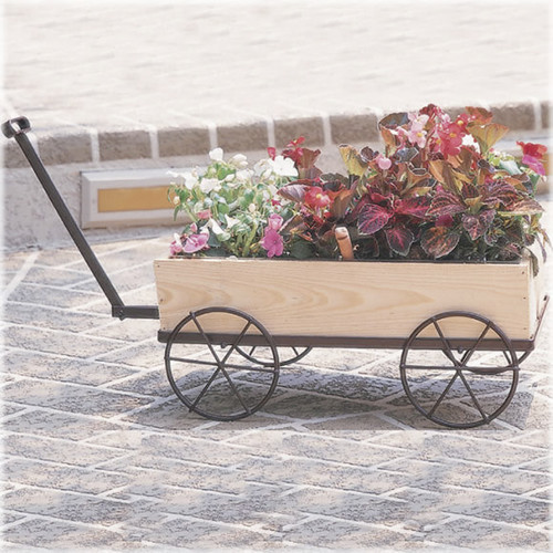 Country Flower Wagon Planter Traditional Outdoor Pots