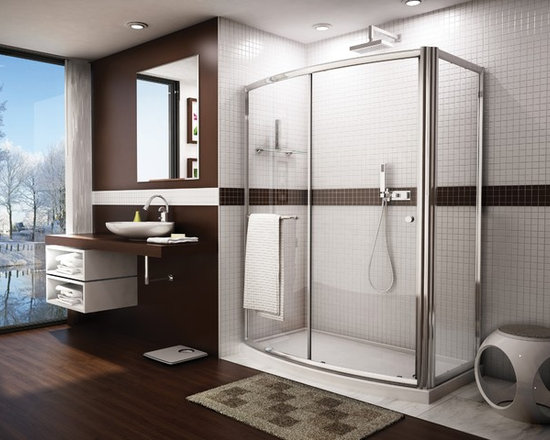 "Fleurco Banyo Amalfi Bowfront RP 60"" x 30"" Frameless Curved Sliding Door with Re - Deluxe anti-jump smooth rolling system"