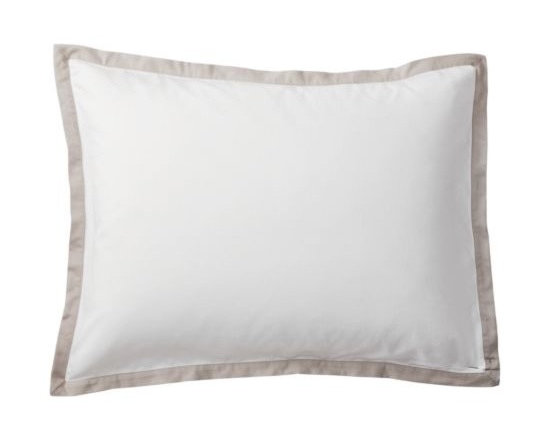 """Serena & Lily - Bark Border Frame Sham - A clean, simple design for those who crave a quieter bed. Sham features crisp 300-thread-count 100% cotton sateen with 1"""" band in Bark."""