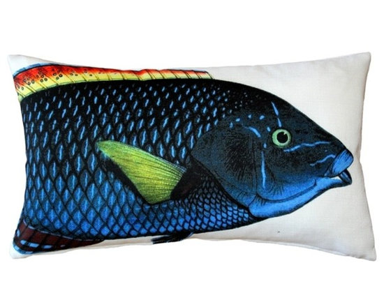 Pillow Decor - Pillow Decor - Blue Wrasse Fish Pillow 12 x 20 - This double sided Blue Wrasse decorative pillow is printed on both sides with the head and body of the fish on the front and the tail on the back. Printed on an indoor outdoor spun polyester fabric.