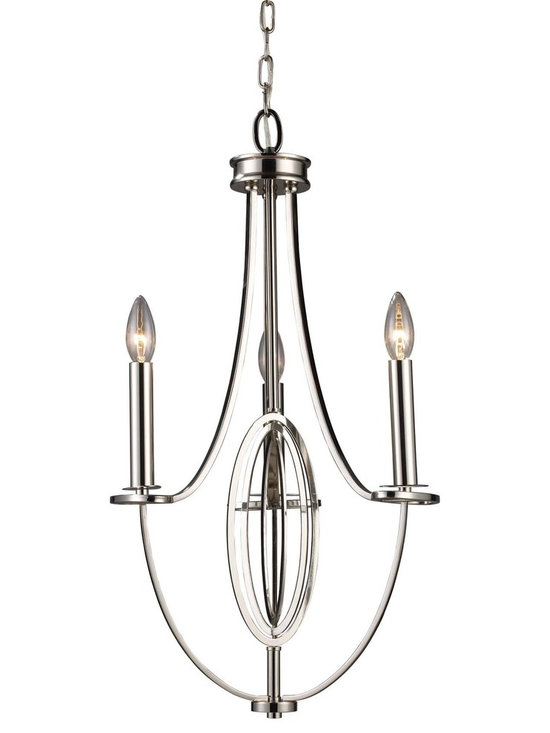 Elk Lighting Dione 3-Light Chandelier in Nickel - Sleek lines and laser cut oval accents describe the Dione Collection. Refined beauty is accented by the polished nickel finish, combining the perfect balance and design.