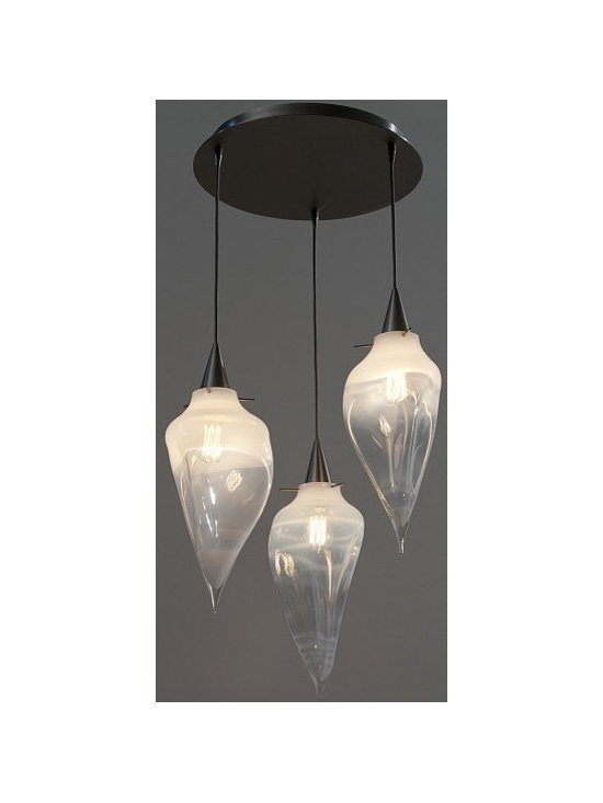 Alabaster Rock Chandelier by Jamie Harris - The Rock Pendants feature undulating forms that move like molten glass. This chandelier groups 3 hand-blown pendants on a central chandelier canopy.