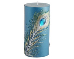 Peacock Feather Pillar contemporary-candles-and-candle-holders