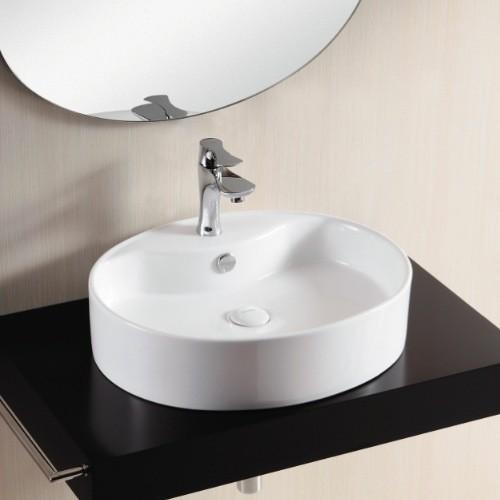 Oval White Ceramic Vessel Bathroom Sink contemporary bathroom sinks