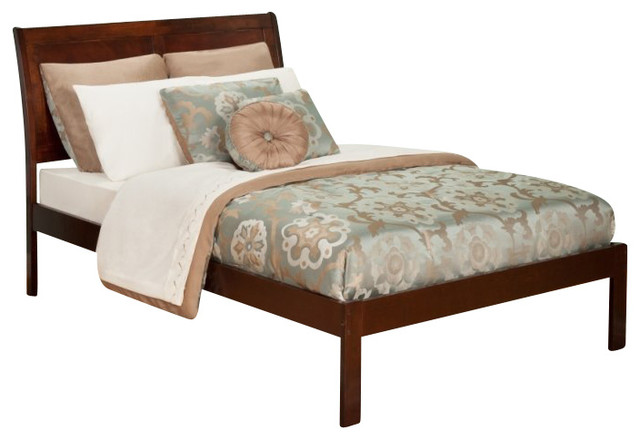 Atlantic Furniture Portland Bed with Open Foot Rail in Antique Walnut-Queen Size transitional-panel-beds