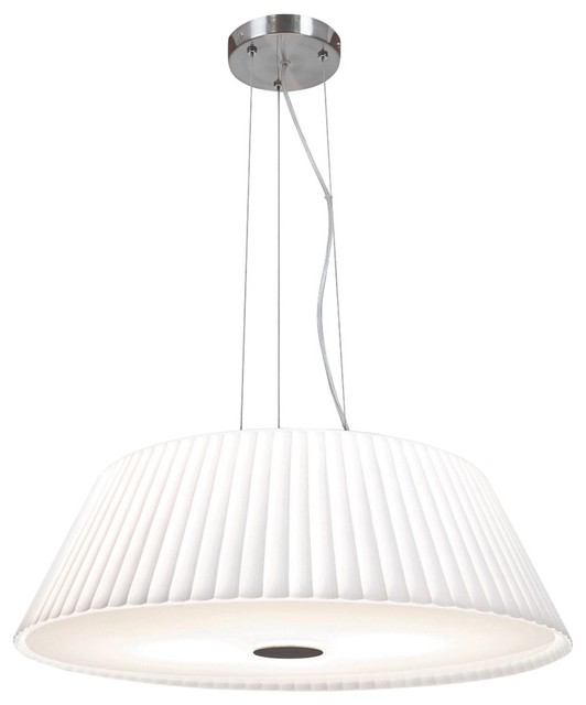 """Contemporary Leilah 17"""" Wide Brushed Steel and White Glass Pendant Light contemporary-pendant-lighting"""