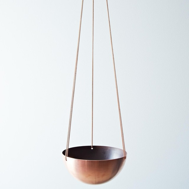 Copper Hanging Basket Contemporary Indoor Pots And