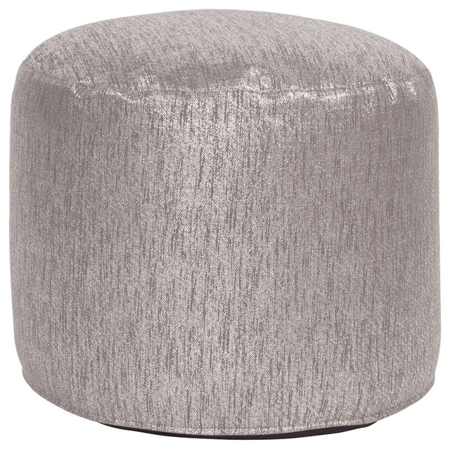 Glam Pewter Tall Pouf Ottoman contemporary-footstools-and-ottomans