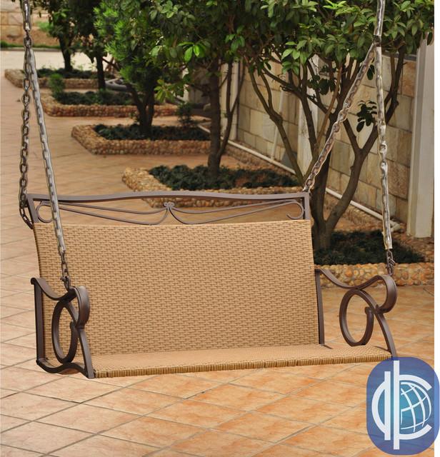 International Caravan Valencia Resin Wicker Steel Frame Hanging Loveseat Swing Contemporary