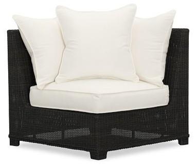 Palmetto All Weather Wicker Corner Chair Black
