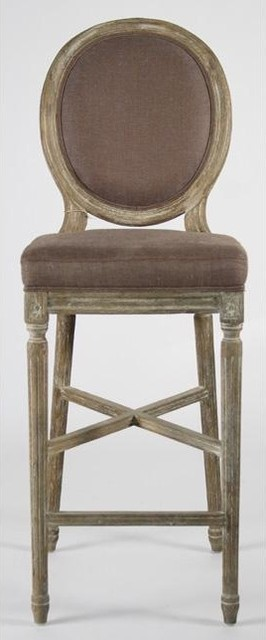 Zentique Medallion Bar Stool in Aubergine Linen traditional-bar-stools-and-counter-stools