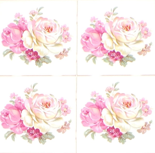Pink Rose Ceramic Tile Mural Backsplash Kiln Fired Decor 4 Pieces Accents Victorian