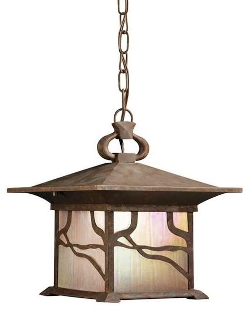 Outdoor Lighting Fixtures Arts And Crafts Kichler Lighting 9837DCO Morris Arts And Crafts Mission Outdoor Hanging Penda