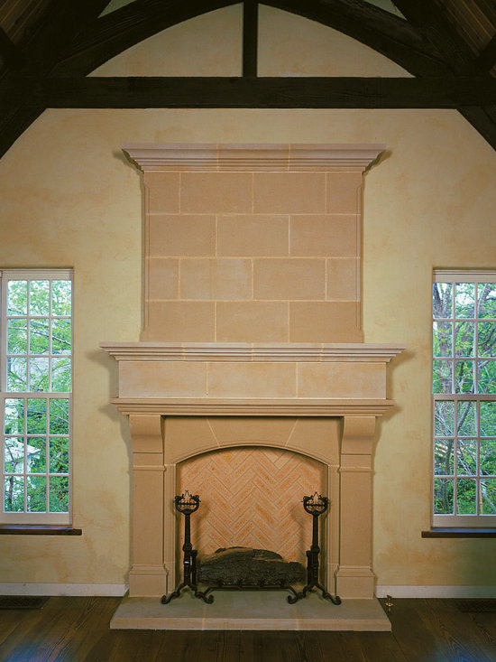 Cast Stone Overmantel #11 - Pictured with Normandy cast stone fireplace mantel