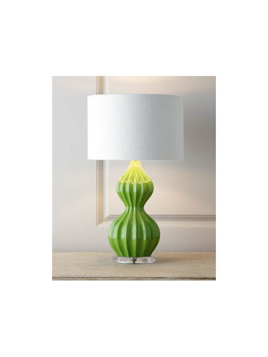 "Horchow - Green ""Peanut"" Lamp - Perfectly proportioned to fit in smaller spaces, this lamp features a mid-century ribbed ""peanut"" gourd design with a high-gloss finish. It's ideal as a desk or accent lamp and makes a fun addition to a child's room. Handcrafted of polyresin with an ac..."