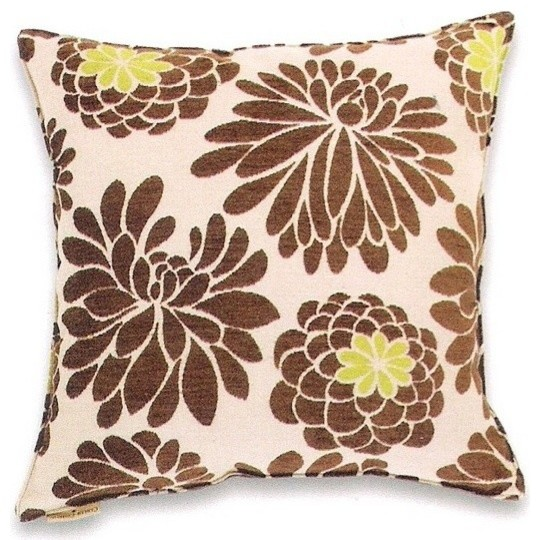 Large Flower Throw Pillow : Edwin Natural Chenille Large Flower Pattern Print 20