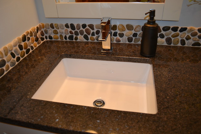 Pebble Mosaic Backsplash Modern Bathroom Vanities And