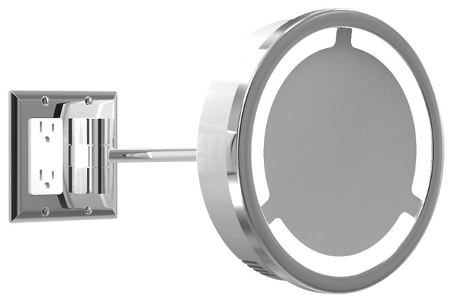 Wall Sconces With Outlet : Single Arm Halo Light Wall Mirror W / Outlet - Modern - Wall Sconces - by Lightology