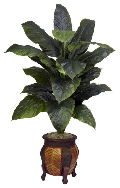 spathyfillum with decorative vase silk plant contemporary artificial flowers by