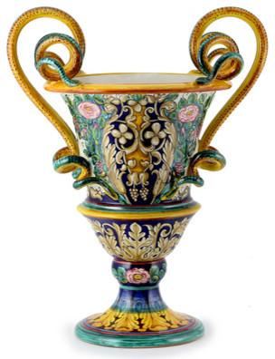 Excelsior: Deruta Amphorae XVI Century Blue Roses mediterranean-home-decor