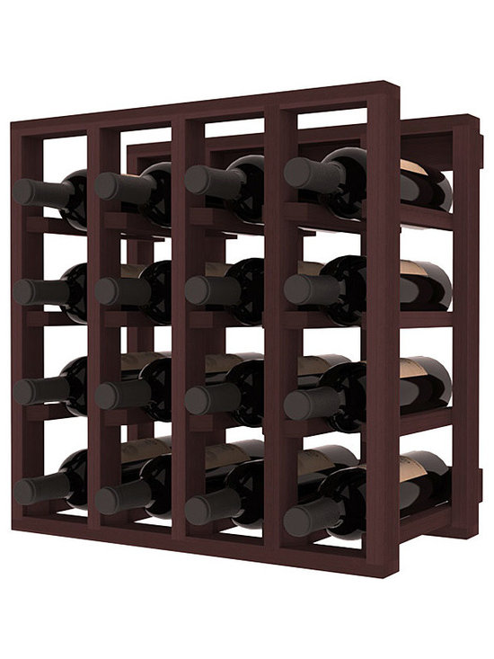 Lattice Stacking Wine Cubicle in Redwood with Walnut Stain - Designed to stack one on top of the other for space-saving wine storage our stacking cubes are ideal for an expanding collection. Use as a stand alone rack in your kitchen or living space or pair with the 20 Bottle X-Cube Wine Rack and/or the Stemware Rack Cube for flexible storage.