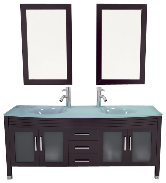 63 Grand Regent Large Double Sink Modern Bathroom Vanity Cabinet With G