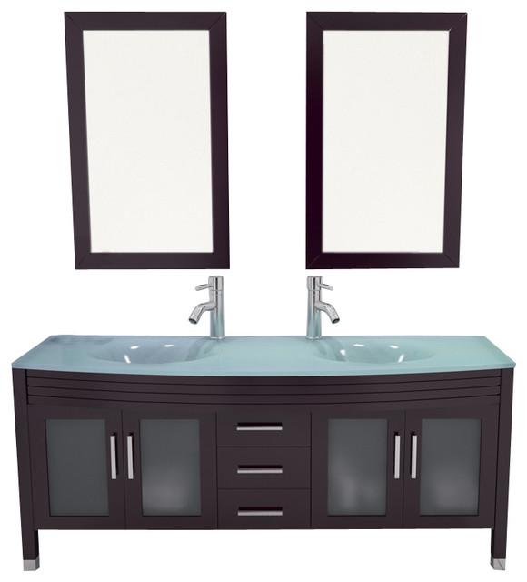63 Grand Regent Large Double Sink Modern Bathroom Vanity Cabinet With G