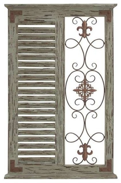 Classic pine wood metal wall panel and parallel slats of wood rustic