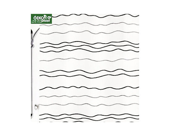 Waves Shower Curtain - Lightweight plastic PVC free shower curtain with platinum grey and black wavy horizontal lines on a frosted white background.