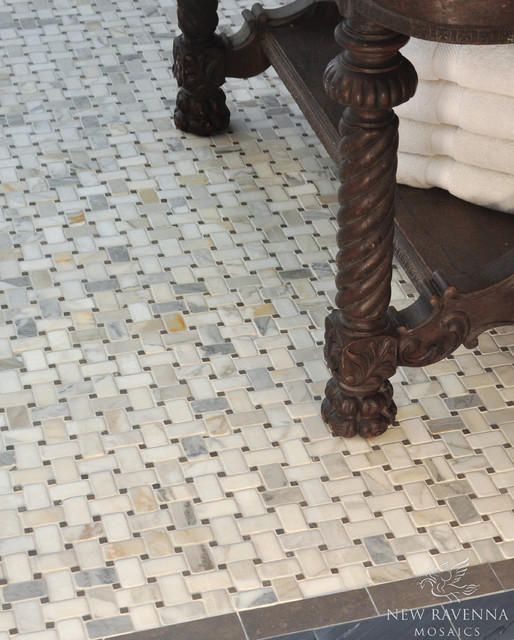 Marble Basketweave Tile >> Basketweave Stone Mosaic - Traditional - Tile - other