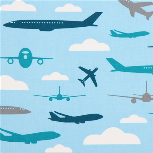 Light blue fabric for boys with airplanes by robert for Childrens airplane fabric