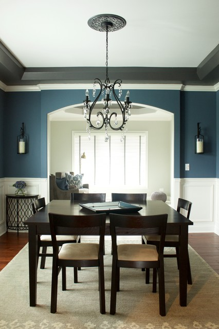 blue gray contemporary dining room with nearly natural