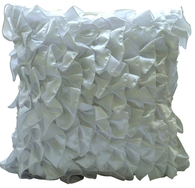 Vintage Style Decorative White Satin Throw Pillow Cover, 12x12 - Shabby chic - Decorative ...