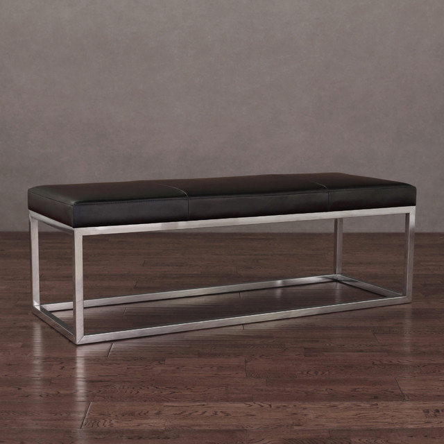 Manhattan Black And Stainless Steel Modern Leather Bench Contemporary Indoor Benches By