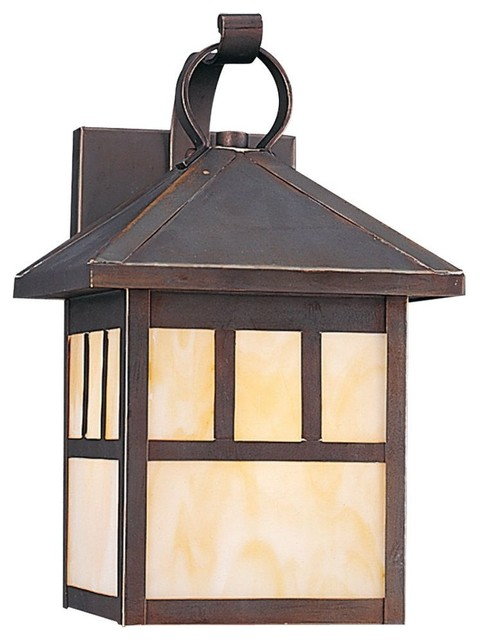Seagull Prairie Statement Outdoor Wall Mount Light Fixture in Antique Bronze craftsman-outdoor-wall-lights-and-sconces