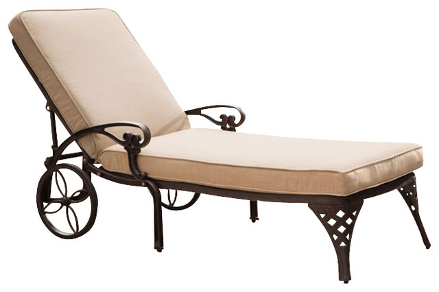 Home styles biscayne outdoor chaise lounge chair in bronze for Bronze chaise lounge