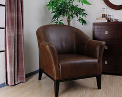Tivoli Dark Brown Leather Armchair contemporary-accent-chairs