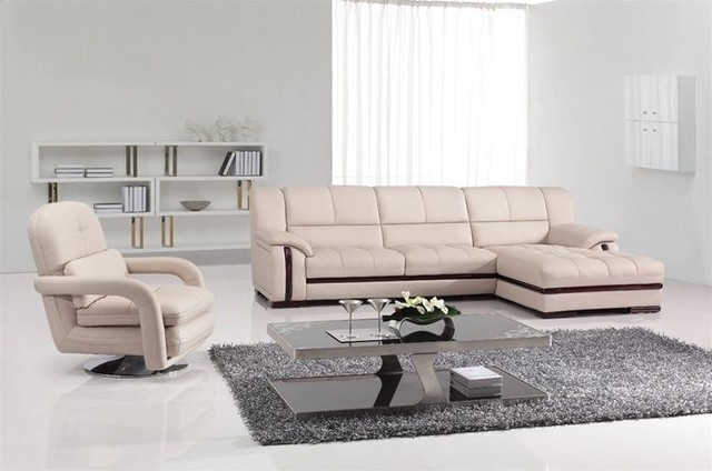 Contemporary Corner Sectional L Shape Sofa With Swivel