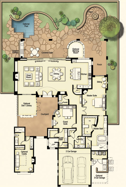 Casa tucson territorial elevation contemporary floor for Territorial style house plans