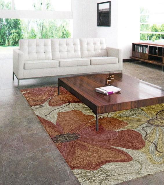 Orange Rug Living Room: Floral Area Rug