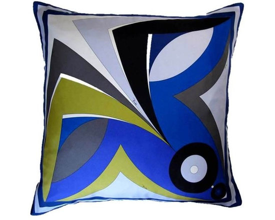 Revel Pillow  made with Pucci Scarf - Measures 24x24, this bold Emilio Pucci design makes for a bold accent or floor pillow.  Reverses to a solid plush velvet.  Silk lined for added durability, zipper closure, poly feather insert  included.