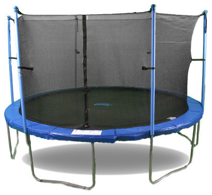 "16 FT. Trampoline & Enclosure Set equipped with the New ""Upper Bounce Easy Assem modern-curtain-rods"