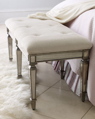 """""""Denison"""" Mirrored Bench traditional-upholstered-benches"""